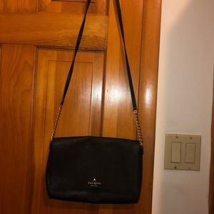 Kate Spade Black Leather Foldover Crossbody